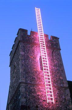 'Echelle' neon, 2000 by artist Ron Haselden