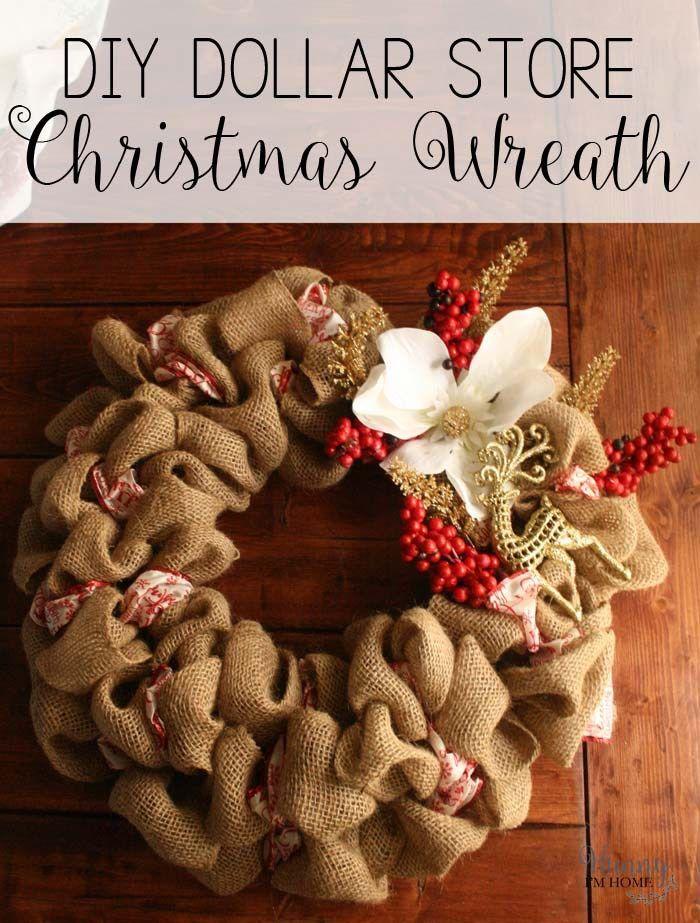 Diy Dollar Store Christmas Wreath Diy Burlap Wreath Christmas