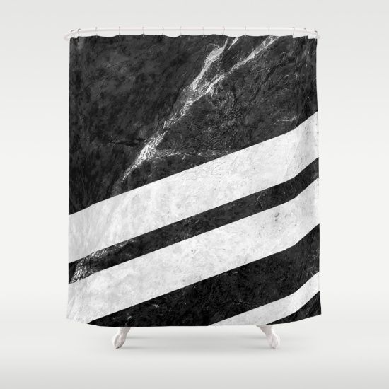 Digital design with stripes of white marble over a background of black marble with white pattern. #marble #stone #texture #pattern #black #white #stripe #striped #shower #curtains #homedecor