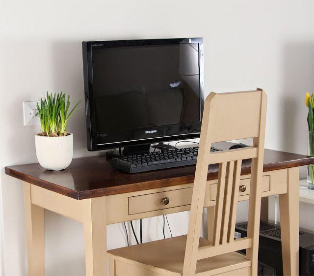 Koivuinen kirjoityspöytä ja Jugend-tuoli maalattuna, väri:latte, kansi:eliittimahonki