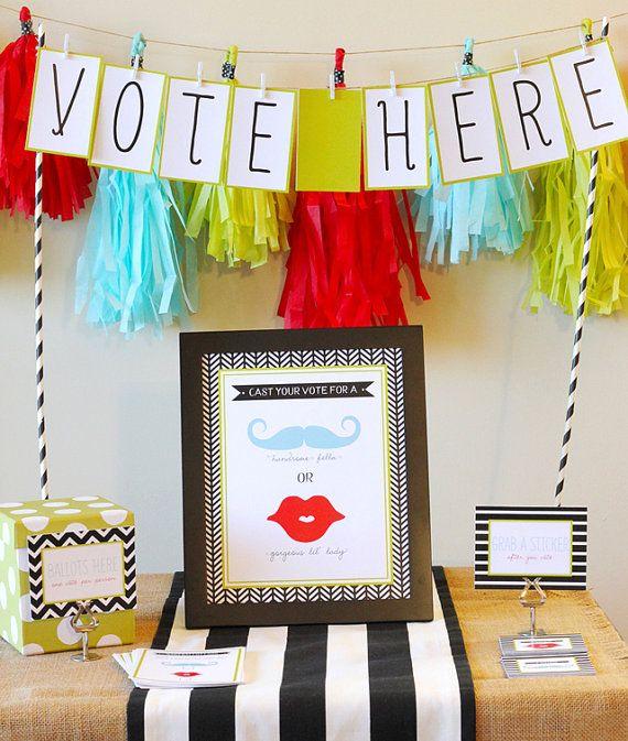 Gender Reveal Voting Station  - Little Mister or Miss - FREE PRINTABLE