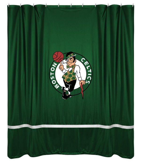 Boston Celtics NBA Sports Coverage Team Color Shower Curtain Sidelines  #SportsCoverage #BostonCeltics