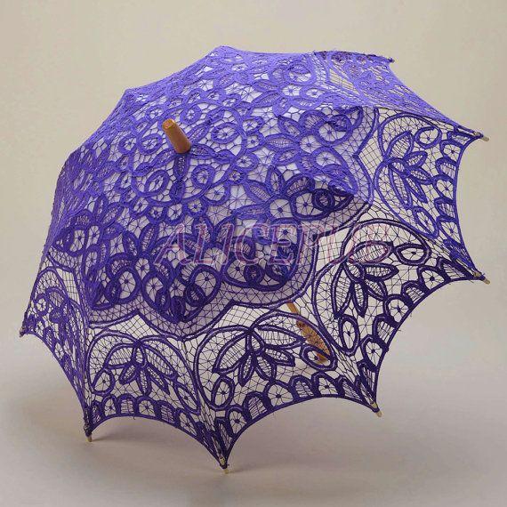 Light Purple Umbrella Lace Wedding Parasol Floral by ALICEPUB