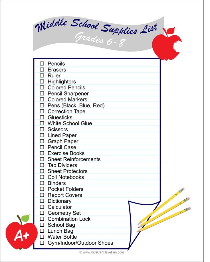 Student School Supply List First Grade Supply List: 46 Best Back To School Activities, Printables, Labels
