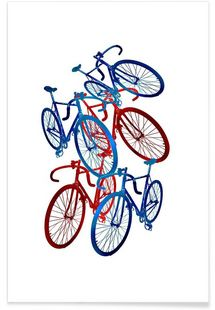 Red and blue bicycles - Rococco LA - Affiche premium
