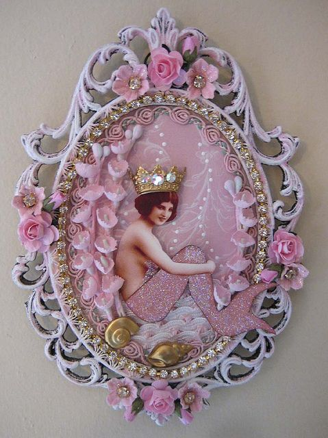 Pretty collage art mermaid works perfectly with old filigree frame - shabby chic