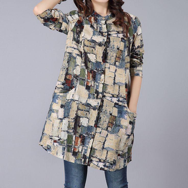 Brand Women Printed Shirts Long Sleeve Shirt Women Casual Ladies Blouse Long Women Tops Streetwear. Click visit to buy #Blouse #Shirt #BlouseShirt