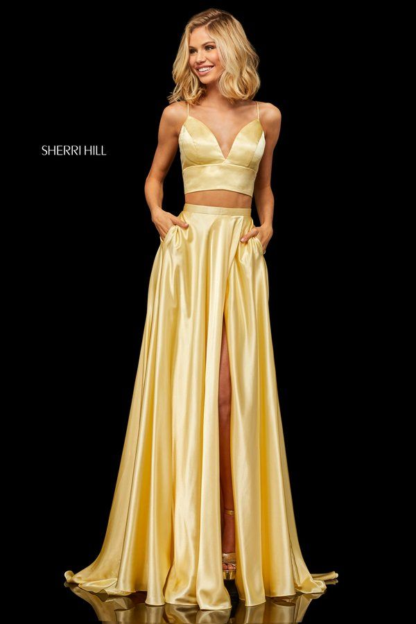 ae59862190 Silk charmeuse two-piece with a V-neck bodice that ties in the back ...