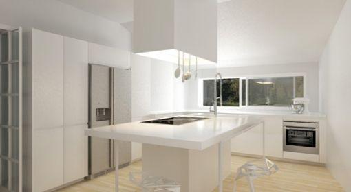 Cucina ad isola con vista sulla piscina island kitchen - Cucina con vetrata a vista ...