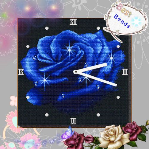 Blue Rose Clock Counted Cross Stitch Kit