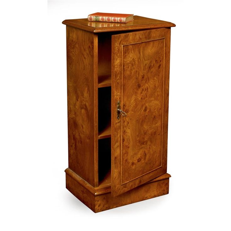 """Richly burled elmwood in a versatile small cupboard handmade in England. Door closes with magnet. Two adjustable shelves, line inlay on top and brass hardware. 15 ¾""""w x 12""""d x 32""""h."""