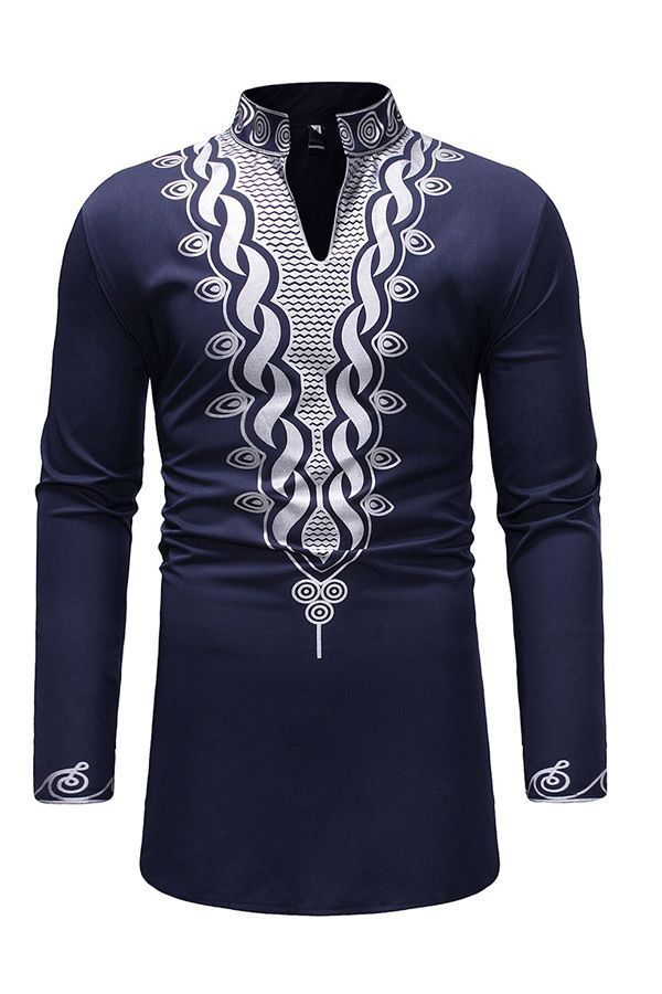 Fashion Men/'s African Print Long Sleeve Dashiki Collar Blouse Long T Shirt DA