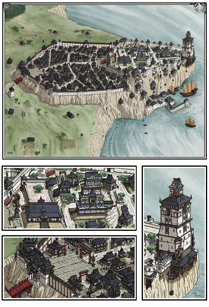 Asian city Mittelalter Fantasy RPG