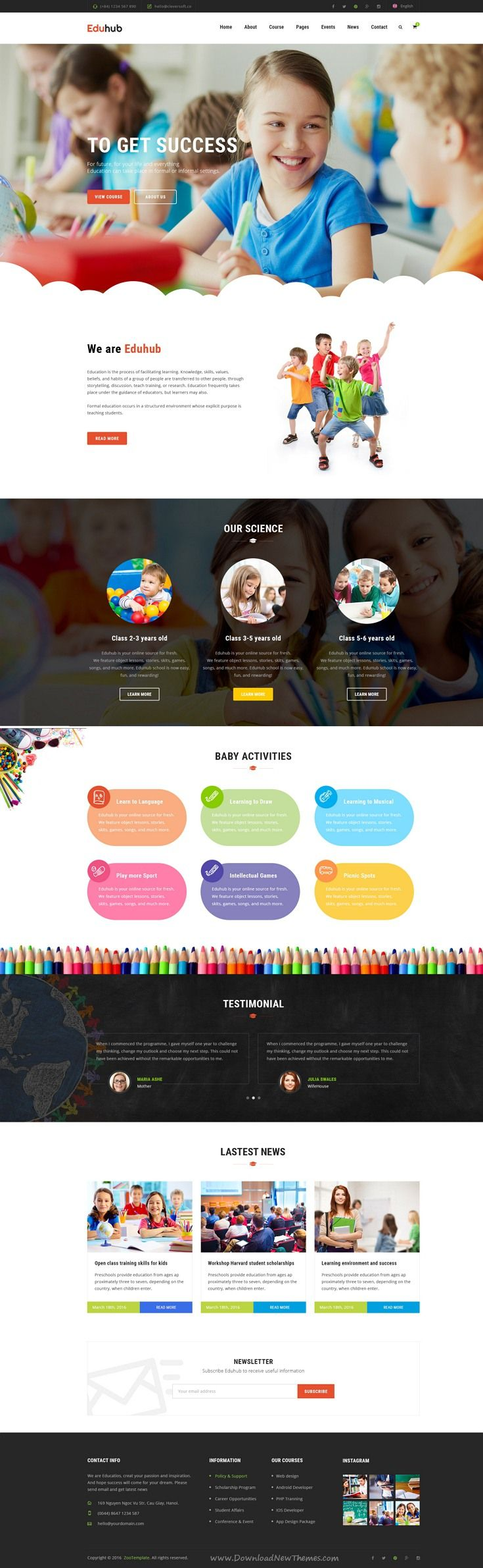 Eduhub is beautiful PSD template for your #Education Institute, Events, Courses and even Learning Management System, Business and Shopping website. #preschool Download Now!