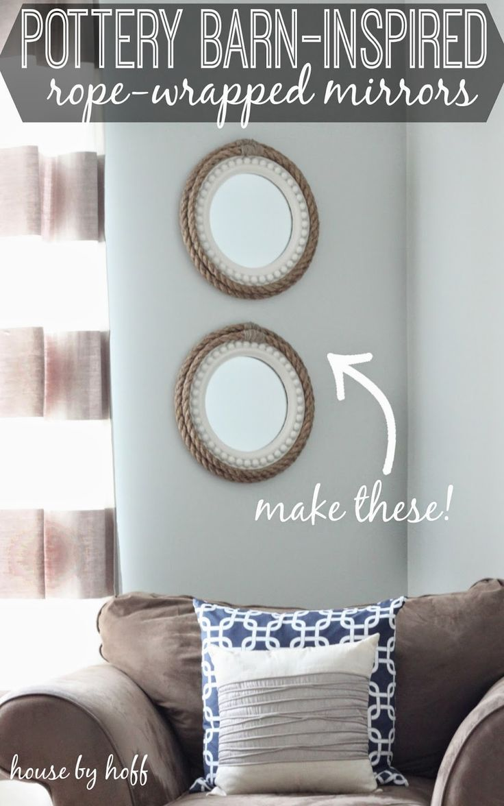 Turn an ordinary mirror into Rope Mirror Inspired by Pottery Barn - House by Hoff. Perfect for a nautical themed room makeover.