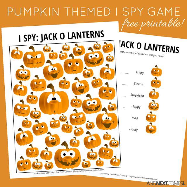 jack o lantern themed i spy game free printable for kids preschool halloweenhalloween - Free Preschool Halloween Printables
