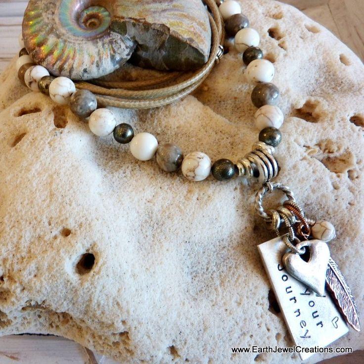 White Magnesite Gemstone Affirmation Necklace - Inspirational Crystal Jewellery Handmade by Earth Jewel Creations Australia