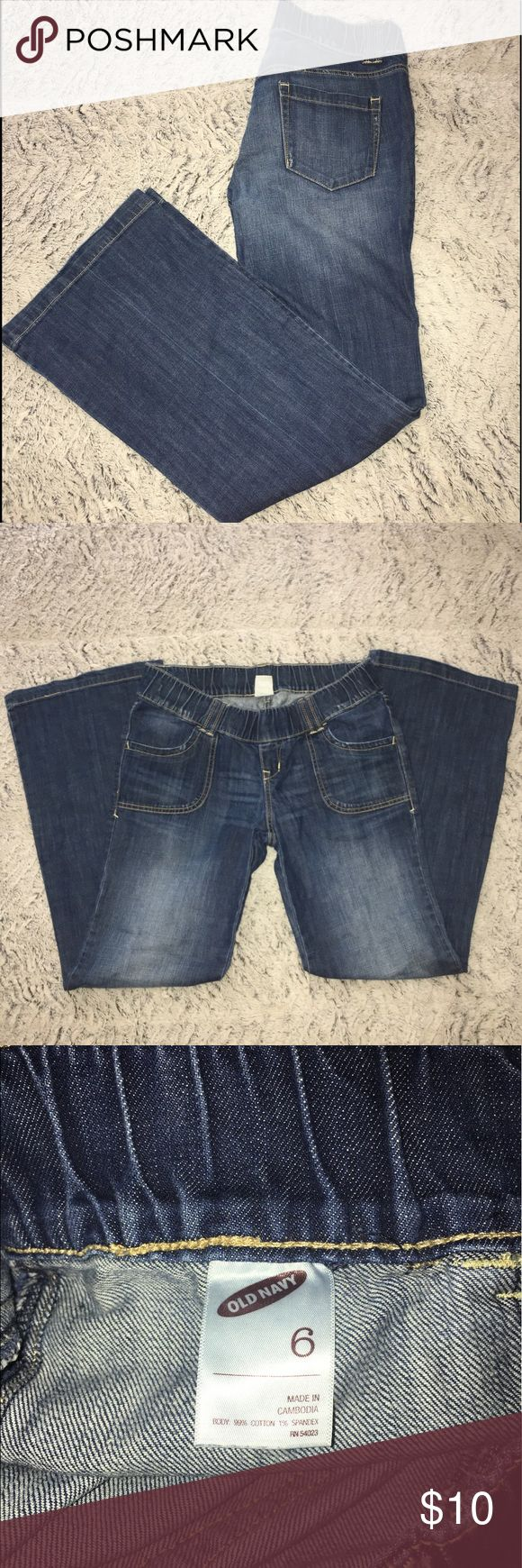 Old Navy Maternity Jeans Old Navy maternity jeans with elastic waist.  Great condition as they were only worn a handful of times. Smoke free/pet free home, cross posted Old Navy Jeans Flare & Wide Leg