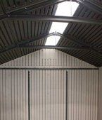 Lifetime Shed Roof Skylight to let natural light flood in.  http://www.greenhousestores.co.uk/Lifetime-Plastic-Sheds/
