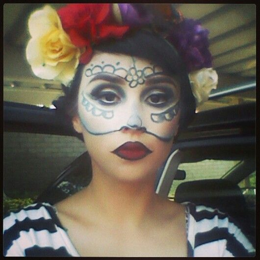 My Half Day Of The Dead Makeup By Me Dania Pinterest Dead