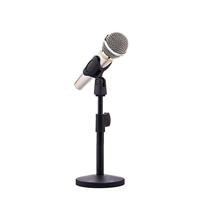 Singdamic Desk Microphone Stand With Mic Clip Adjustable Foldable For Meetings Lectures And Podcasts Xd007 Round Stand Revi Microphone Microphone Stands Mic