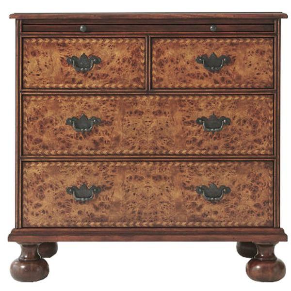 Essential TA, William & Mary, Poplar Burl Veneer, Mahogany, Theodore Alexander, Exquisite Chevron Chest, Dressers & Chests