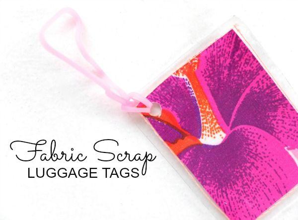 fabric scrap luggage tags