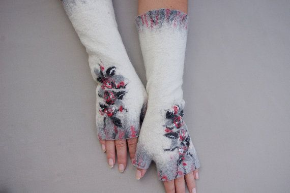 Felted Fingerless Mittens Arm warmers Gloves White Grey by LBFelt, $36.00