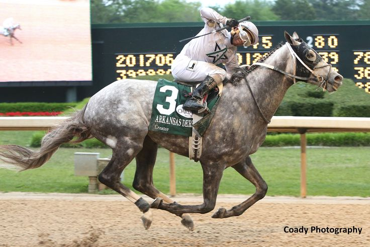 WinStar Farm's Creator posted an 11-1 upset when he closed from dead last to win Saturday's Grade 1 Arkansas Derby by 1 1/4 lengths, earning 100 points toward the Kentucky Derby and guaranteeing himself a spot in the starting gate on May 7. The sophomore son of Tapit covered 1 1/8 miles in 1:50.14 over the fast main track for meet-leading trainer Steve Asmussen and jockey Ricardo Santana, Jr., before a crowd of over 65,000 fans at Oaklawn Park.