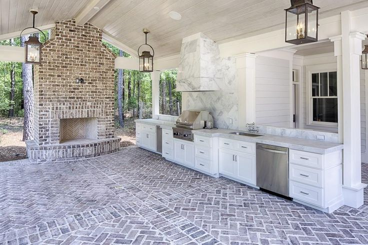 brick outdoor floor kitchen patio covered fireplace outdoors built in entertaining porch full
