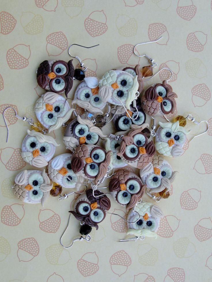 fimo owls - earrings