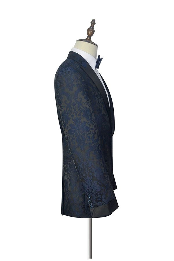 Dark and  blue jacquard slim fit tuxedos