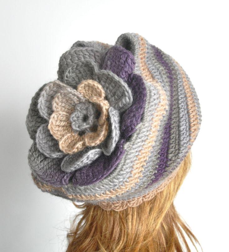 Cozy Flower - Gray-Camel-Purple - Crochet Multicolor Floral Cozy  Adult Hat by jennysunny on Etsy
