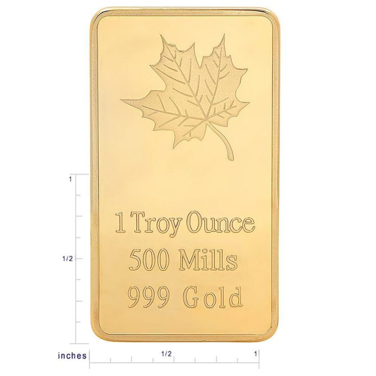 MAPLE LEAF 1 TROY OUNCE 500 MILLS .999 GOLD CLAD BAR BRAND NEW COLLECTABLE