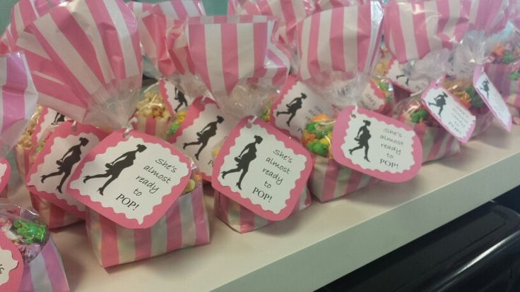 Pink baby shower favours