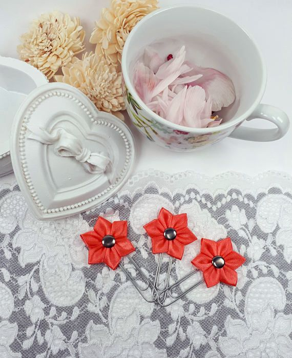 Coral planner clips flower page clips satin ribbon paper clips by Rocreanique on Etsy