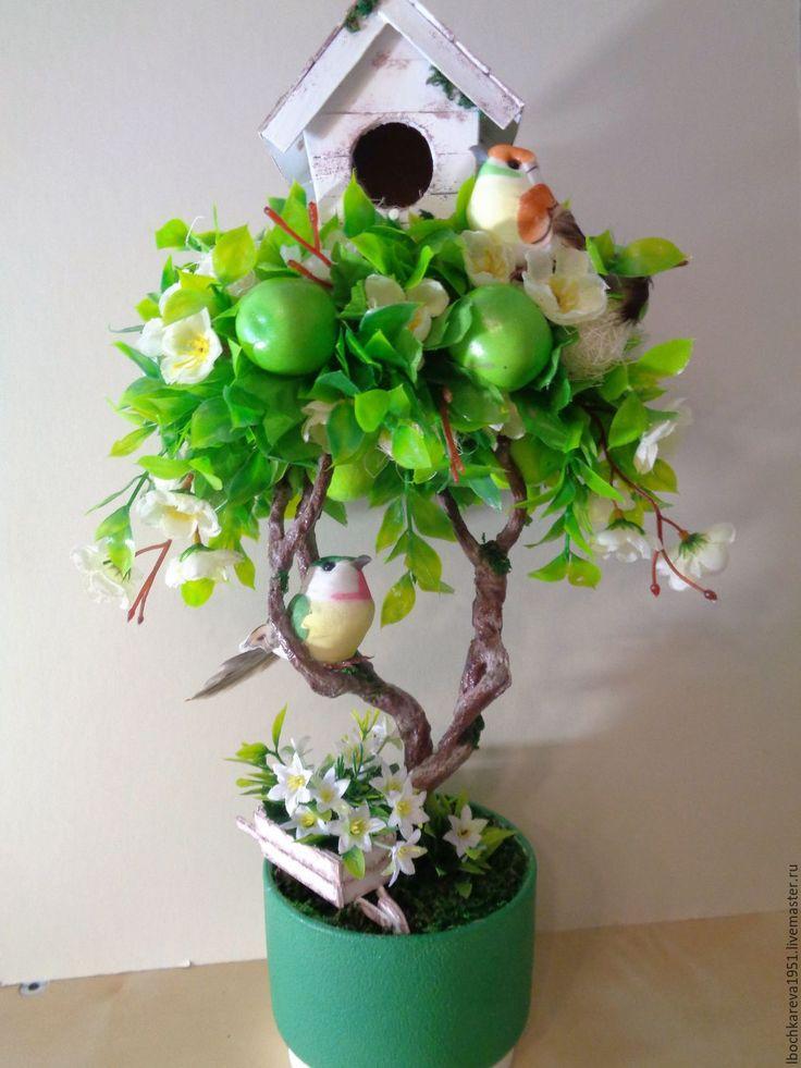 Купить Топиарий со скворечником - комбинированный, топиарий дерево счастья, цветы искусственные, зелень искусственная