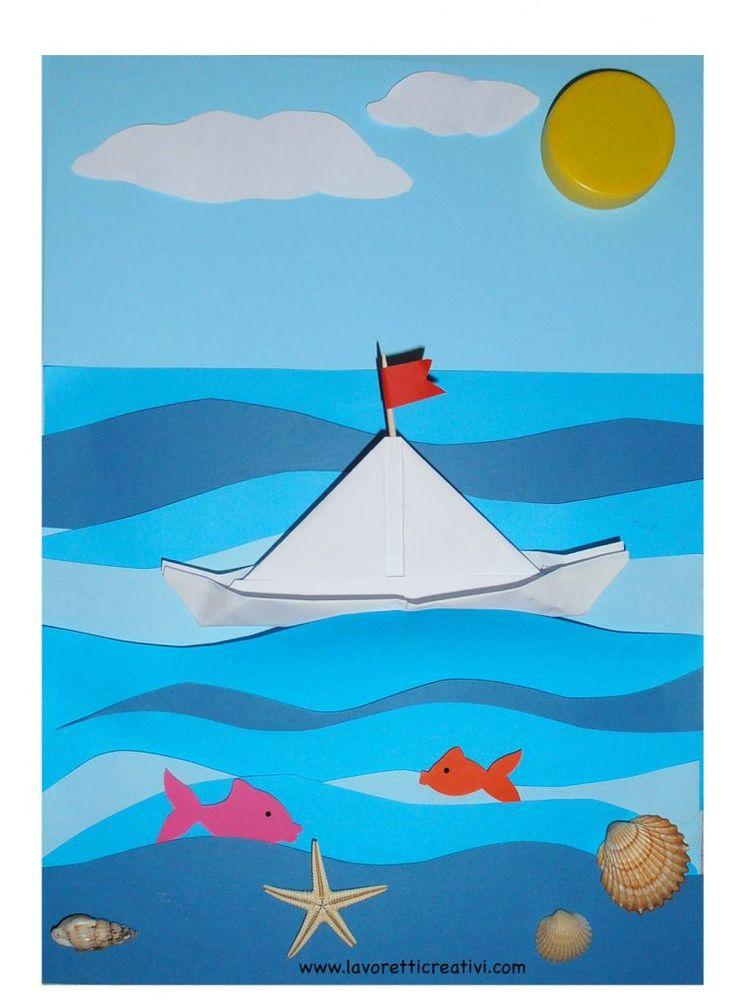 Paesaggio marino con barca di carta