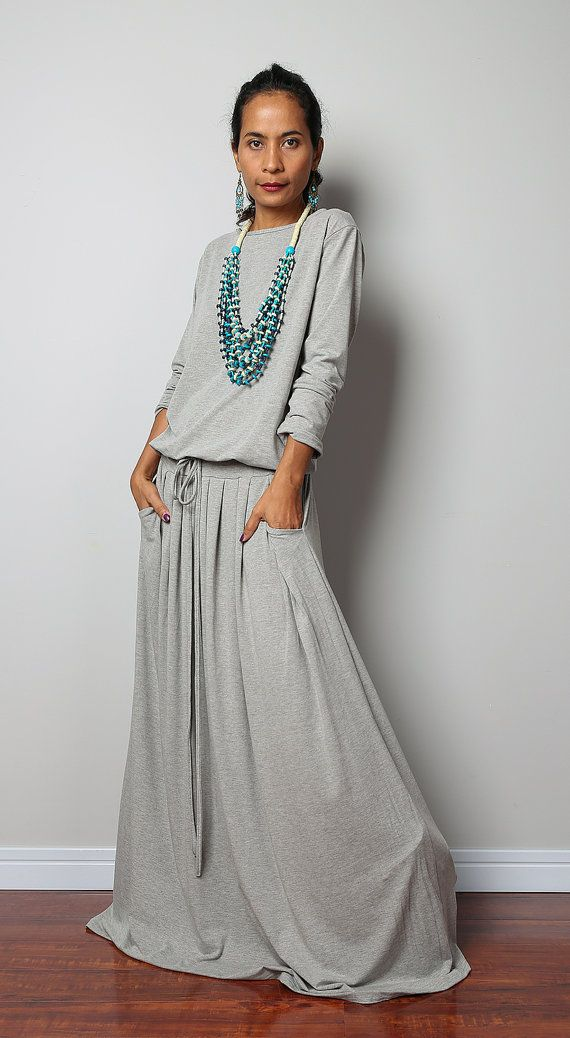 Best Seller!! from our Modest Collection I gave this gorgeous casual long light grey dress a high neckline and a long loose beautifully gathered skirt,