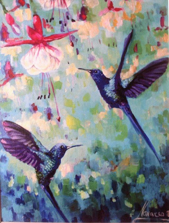 Art print giclee on canvas Humming birds 11x14 by LenaNavarroArt
