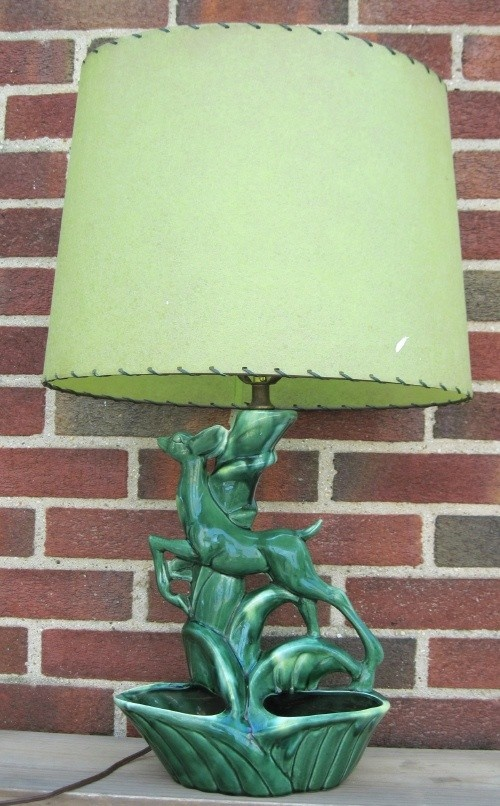 Vintage Green Ceramic Deer TV Lamp By