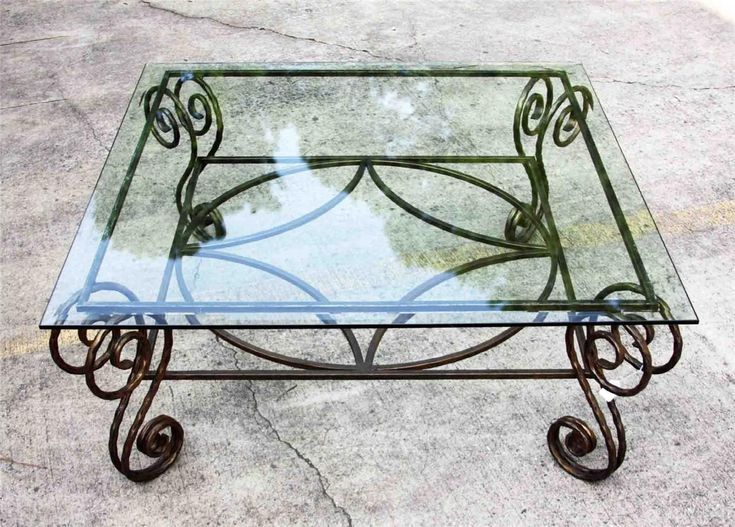 Antique Wrought Iron Table Bases | Antique Copper Wrought Iron Base Beveled Glass Top Coffee Occasional ...