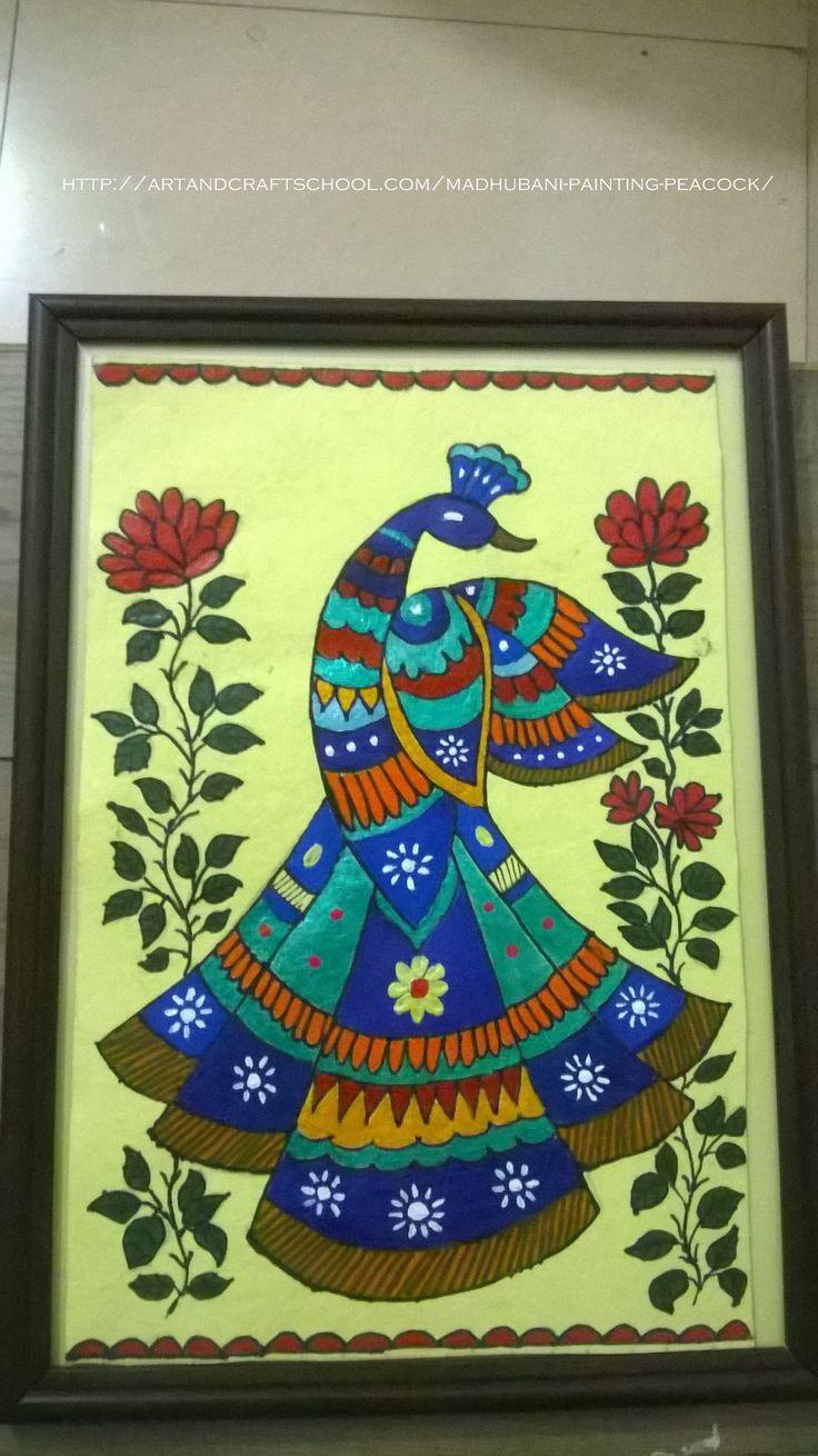 #Madhubani #painting #peacock .      My first madhubani painting ! by Seema Jay http://artandcraftschool.com