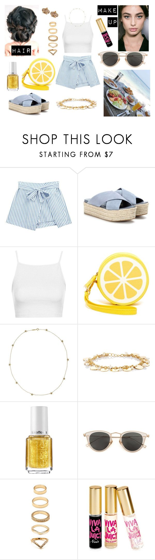 """""""🍌🍞 Breakfast On The Beach! 🌴🌊"""" by milena-serranista ❤ liked on Polyvore featuring Chicnova Fashion, Miu Miu, Topshop, Shiraleah, Jennifer Meyer Jewelry, Ettika, Essie, Issey Miyake, Forever 21 and Juicy Couture"""
