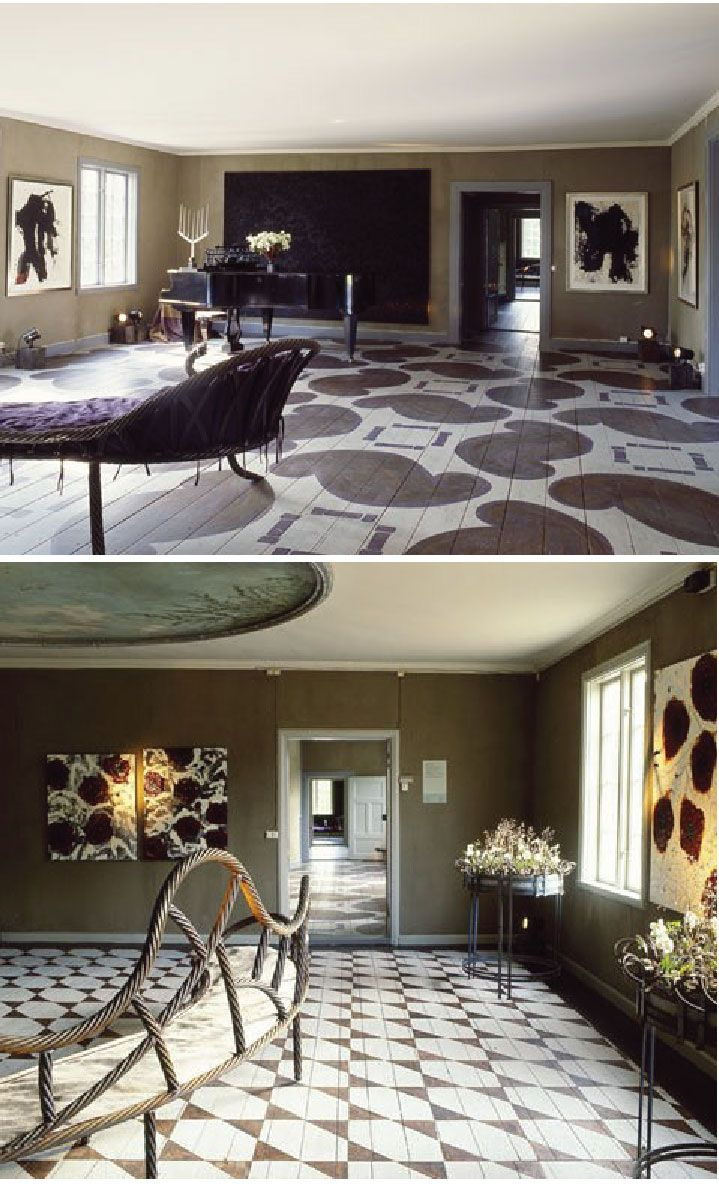 Look at these beautiful painted floors. The historic rooms are part of Gunillaberg estate recently acquired by Danish floral designer, Tage Andersen. Photos: Courtesy of Tage Andersen.