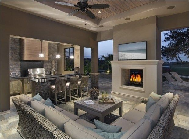 Beautiful Indoor Outdoor Living Room Design With Classic Wicker