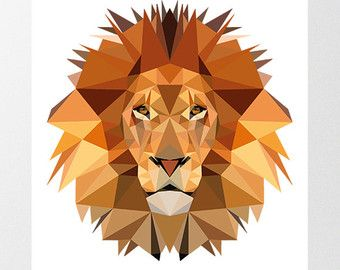 Art Print Geometric Lion Head Print Cool Gray Lion by Stencilize
