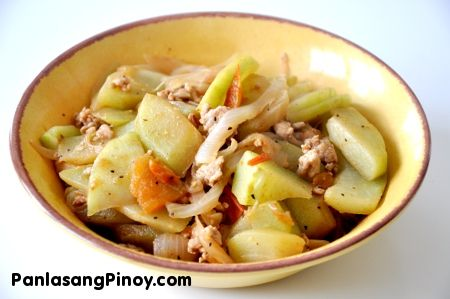 Filipino Ginisang Sayote: Chayote squash with ground beef or pork. It's just like how my mom used to make!