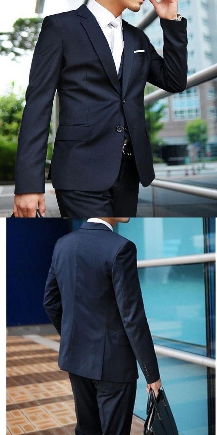 Custom Made Dark Blue Men Suit Tailor Made Suit Bespoke Navy Blue Wedding Suits For Men Slim Fit Groom Tuxedos For Men #menssuitsnavy