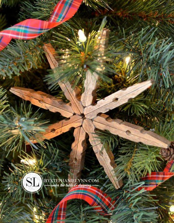 Wooden clothespin snowflake ornaments. http://hative.com/cute-clothespin-crafts-and-ideas/